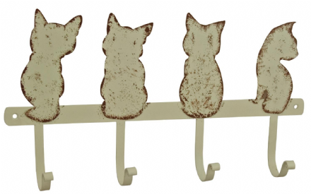 Rustic Cream Cat Metal Home Hanging Hook ~ 4 Cats ~ Wall Mounted